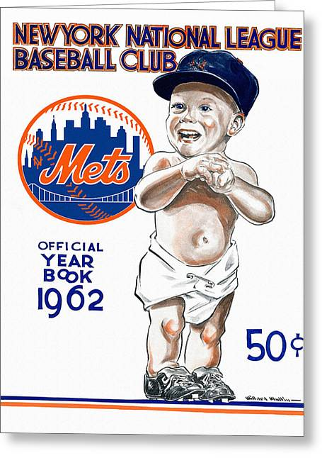 Shea Stadium Greeting Cards - New York Mets 1962 Yearbook Greeting Card by Big 88 Artworks