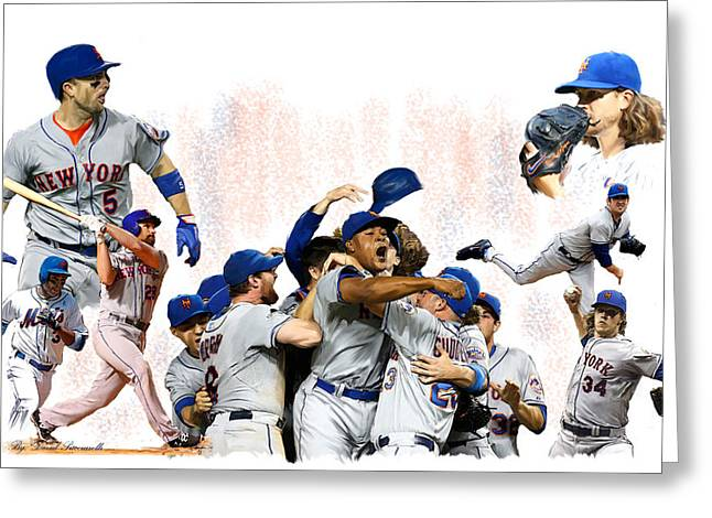 New York Mets 2015  Metropolitan Champions Greeting Card by Iconic Images Art Gallery David Pucciarelli