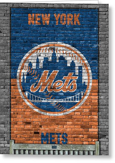 New York Mets Brick Wall Greeting Card by Joe Hamilton