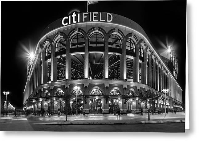 Baseball Stadiums Greeting Cards - New York Mets Citi Field BW Greeting Card by Susan Candelario