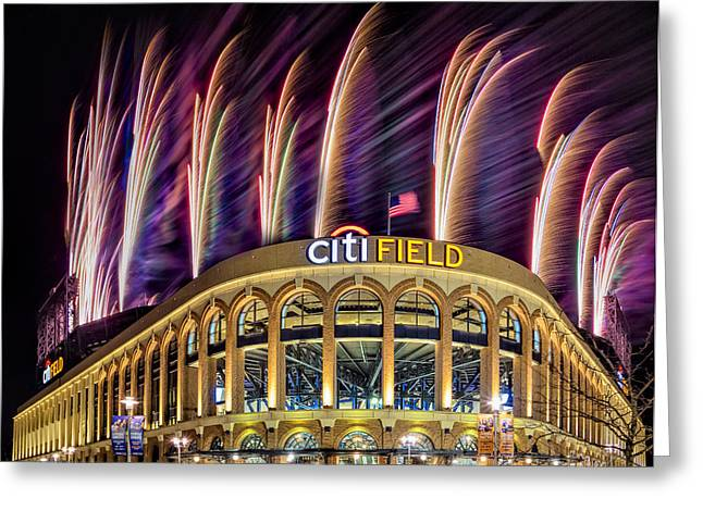 Recreation Building Greeting Cards - New York Mets Citi Field Fireworks Greeting Card by Susan Candelario