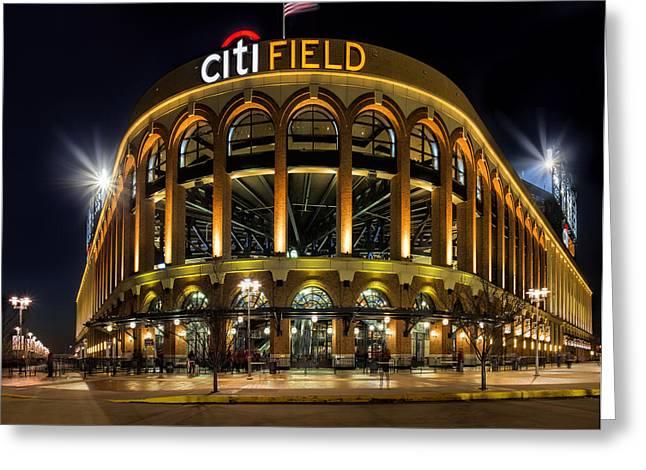 Baseball Stadiums Greeting Cards - New York Mets Citi Field  Greeting Card by Susan Candelario