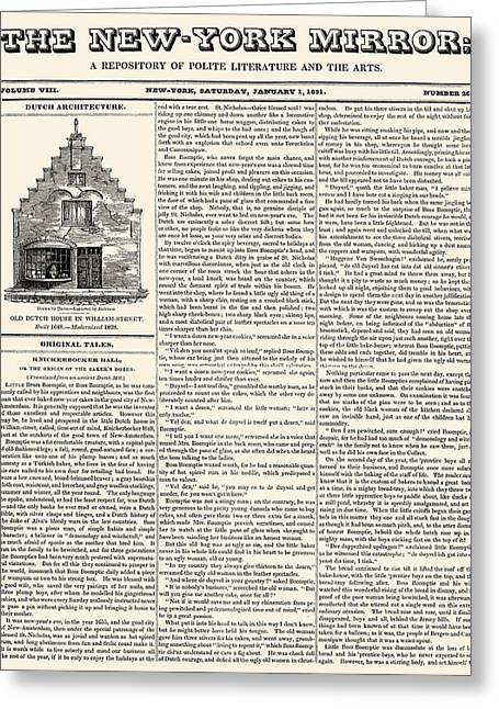 Magazine Pages Greeting Cards - New York Mirror, 1831 Greeting Card by Granger