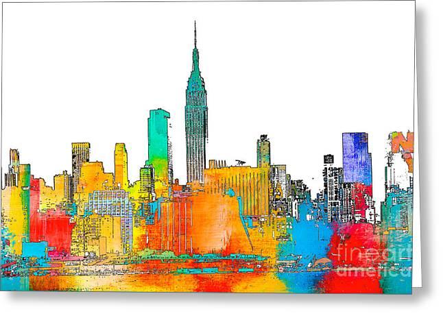 Gotham City Mixed Media Greeting Cards - New York NY Skyline Pop Art Print Greeting Card by ArtyZen Studios - ArtyZen Home