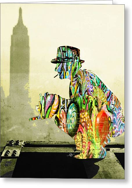 Old Camera Mixed Media Greeting Cards - New York Photographer On Unfinished Skyscraper and Skyline Gold Greeting Card by Tony Rubino