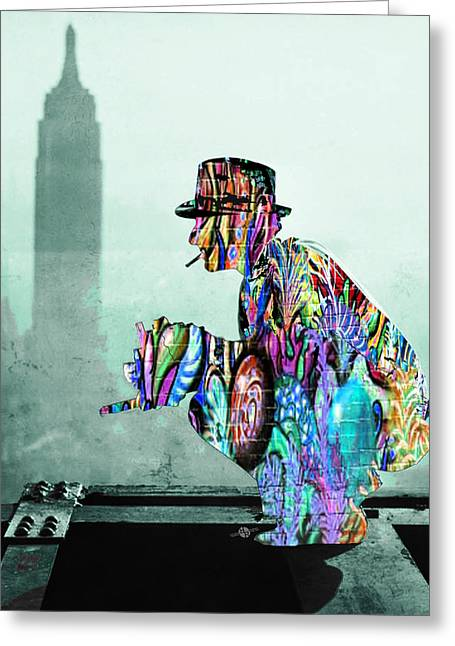 Photographers Mixed Media Greeting Cards - New York Photographer On Unfinished Skyscraper and Skyline Green Greeting Card by Tony Rubino