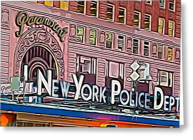 Ny Police Department Greeting Cards - New York Police at Paramount Greeting Card by Terry Weaver