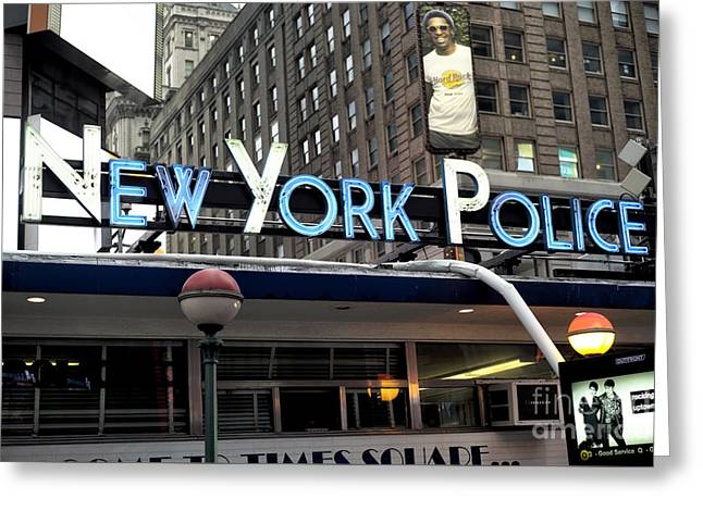 New York Police Greeting Card by John Rizzuto