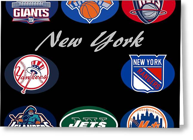 New York Professional Sport Teams Collage  Greeting Card by Movie Poster Prints