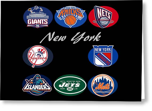 Knicks Greeting Cards - New York Professional Sport Teams Collage  Greeting Card by Movie Poster Prints