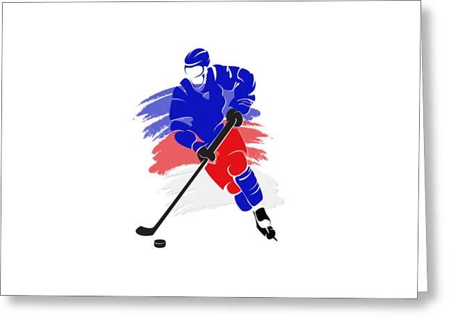Ice-skating Greeting Cards - New York Rangers Player Shirt Greeting Card by Joe Hamilton