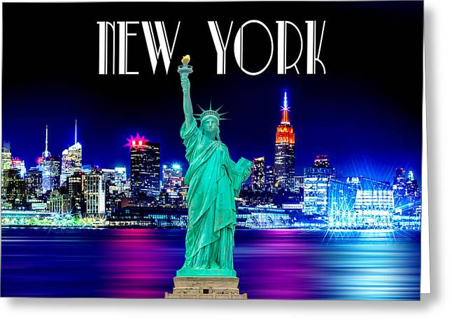 Nyc Posters Greeting Cards - New York Shines Greeting Card by Az Jackson