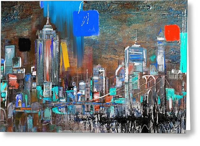 New York Skyline 198 3 Greeting Card by Mawra Tahreem