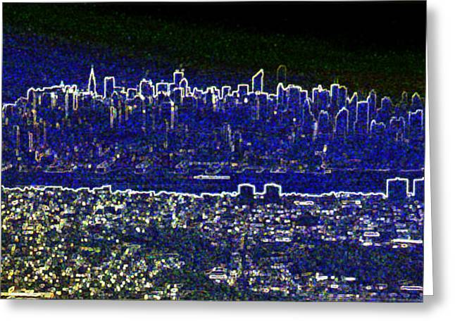 New York Skyline Abstract Greeting Card by Robert Ponzoni