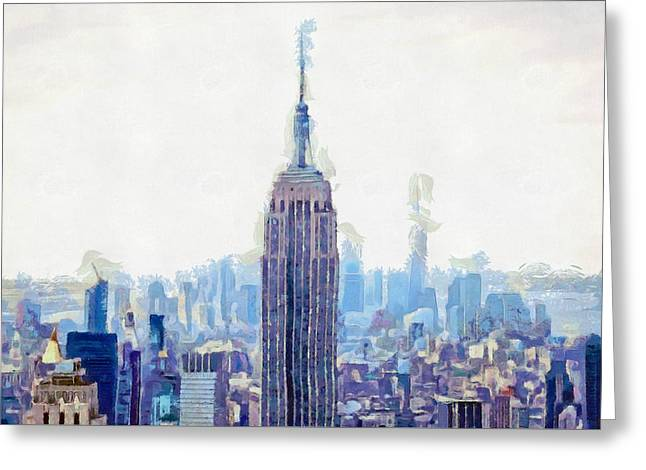 New York Skyline Art- Mixed Media Painting Greeting Card by Wall Art Prints