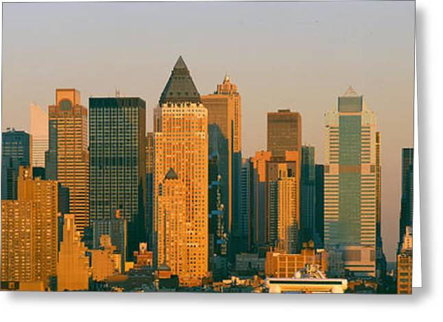 New York Skyline At Sunset Greeting Card by Panoramic Images
