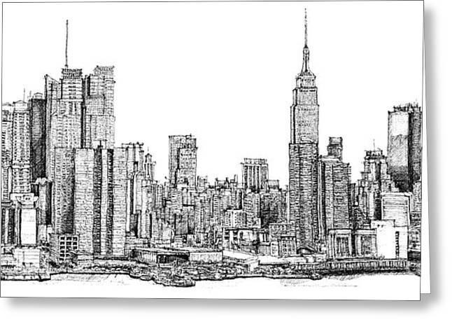 Skylines Drawings Greeting Cards - New York skyline in Ink Greeting Card by Lee-Ann Adendorff