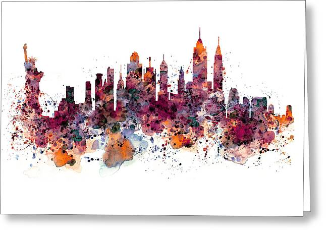New York Skyline Watercolor Greeting Card by Marian Voicu