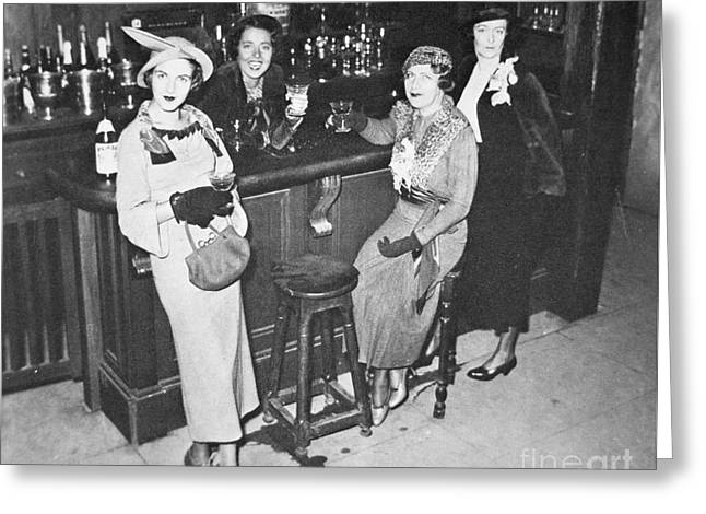 New York Society Women Enjoy Their First Legal Drink After The Repeal Of The Volstead Act In 1933 Greeting Card by American School