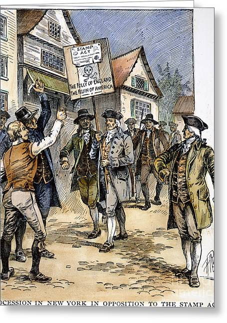 Protesters Greeting Cards - New York: Stamp Act , 1765 Greeting Card by Granger