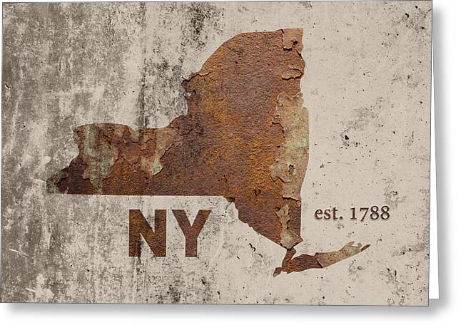 Dated Greeting Cards - New York State Map Industrial Rusted Metal on Cement Wall with Founding Date Series 001 Greeting Card by Design Turnpike