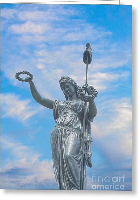 Stone Sentinel Greeting Cards - New York State Monument at Gettysburg Greeting Card by Randy Steele