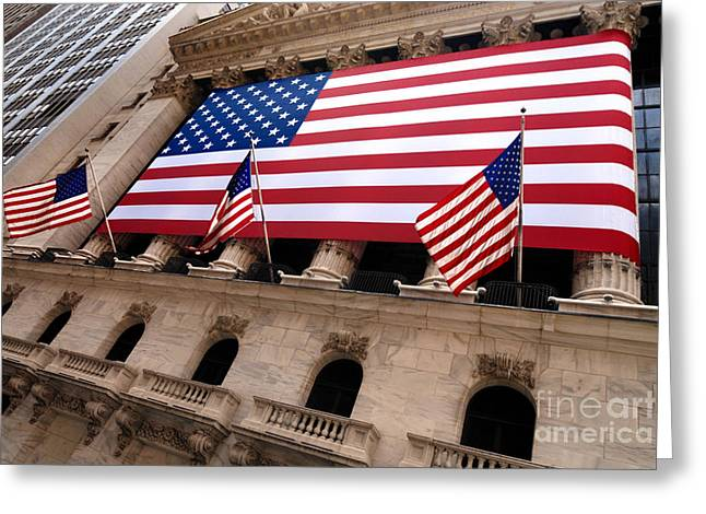 Flag Greeting Cards - New York Stock Exchange American Flag Greeting Card by Amy Cicconi