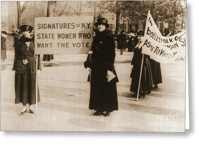 Political Rally Greeting Cards - New York Suffragettes Greeting Card by Padre Art