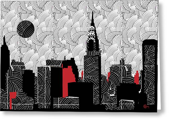 Gershwin Greeting Cards - New York City Skyline Swing  Greeting Card by Cecely Bloom