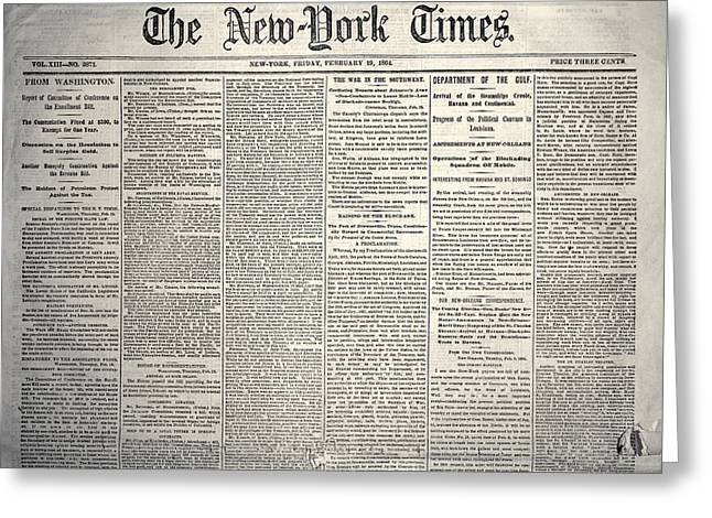 Civil War Time Greeting Cards - New York Times, 1864 Greeting Card by Granger