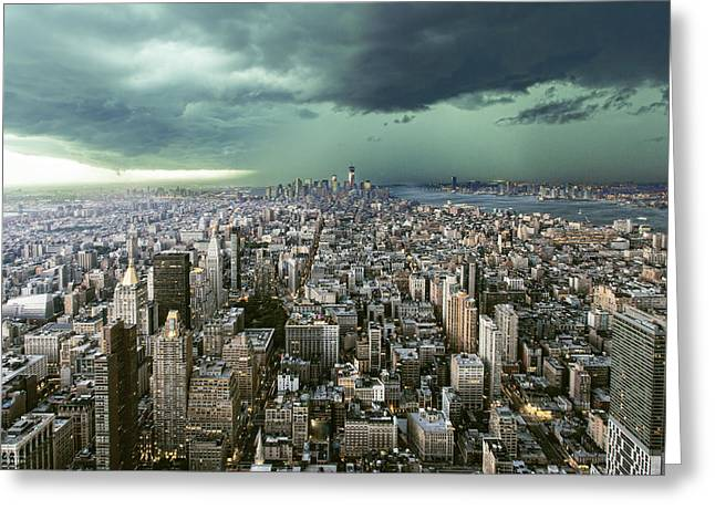 New Greeting Cards - New-york Under Storm Greeting Card by Pagniez