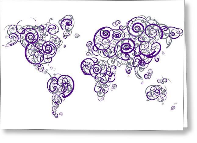 Bobcats Greeting Cards - New York University Colors Swirl Map of the World Atlas Greeting Card by Jurq Studio
