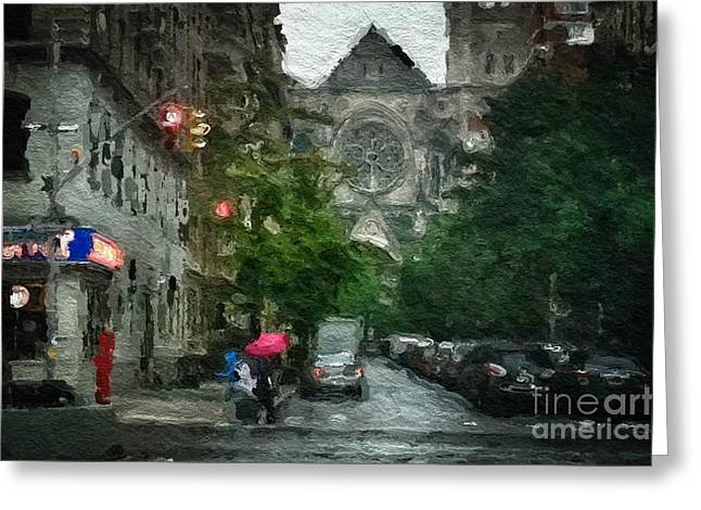 New York Upper West Side Scene Greeting Card by Amy Cicconi