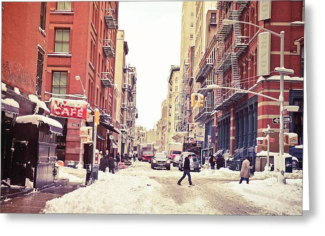 New York City Fire Escapes Greeting Cards - New York Winter - Snowy Street in Soho Greeting Card by Vivienne Gucwa
