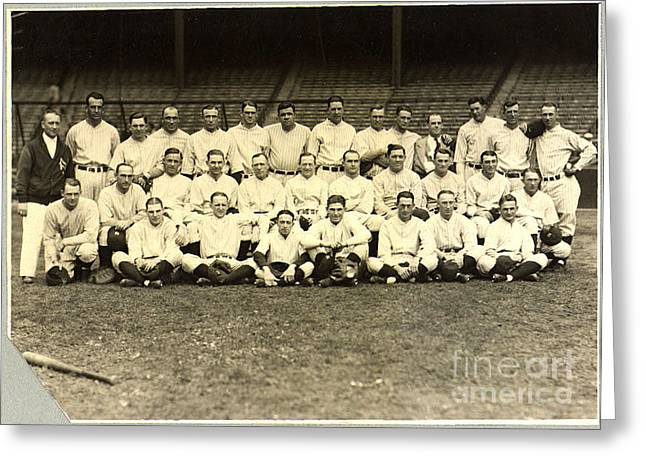 New York Yankees Baseball Team Posed Greeting Card by PG REPRODUCTIONS