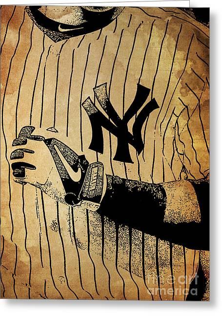 New York Yankees Baseball Team Vintage Card Greeting Card by Pablo Franchi