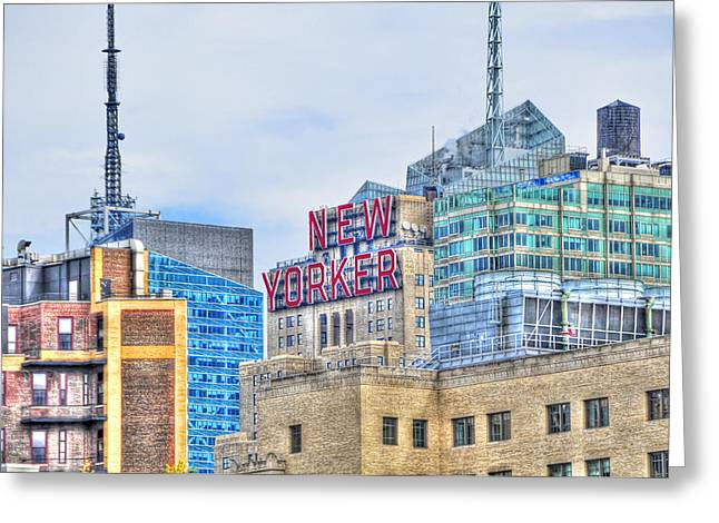 New Yorker Greeting Cards - New Yorker Magazine Headquarters Greeting Card by Randy Aveille