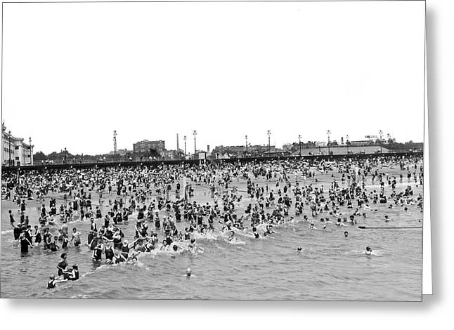 York Beach Greeting Cards - New Yorkers At Coney Island. Greeting Card by Underwood Archives