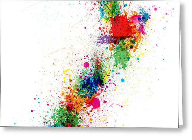 New Zealand Paint Splashes Map Greeting Card by Michael Tompsett