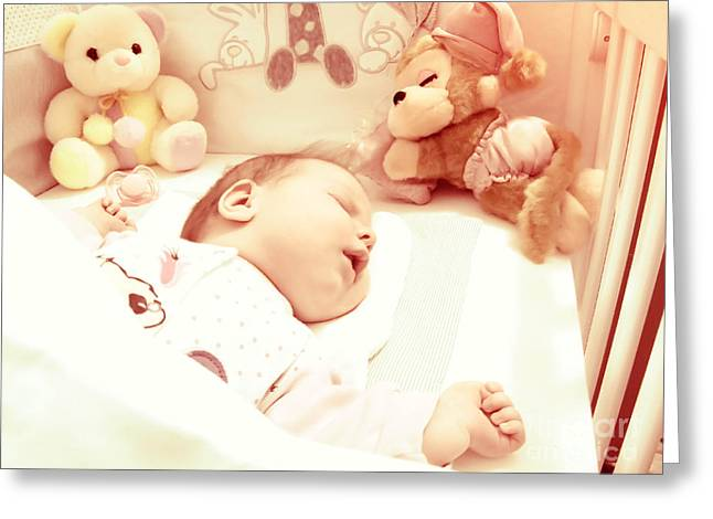 Nostalgic Pyrography Greeting Cards - Newborn baby sleeping with toys Greeting Card by Vesna Cetojevic