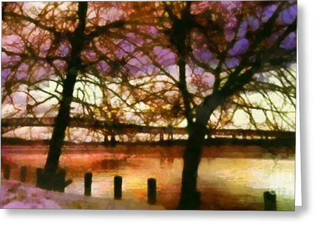 Newburgh Beacon Bridge Purple Skies Greeting Card by Janine Riley