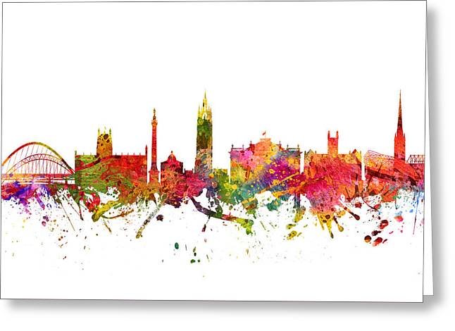 Skylines Drawings Greeting Cards - Newcastle cityscape 08 Greeting Card by Aged Pixel