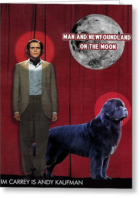 Newfoundland Art Canvas Print - Man On The Moon Movie Poster Greeting Card by Sandra Sij