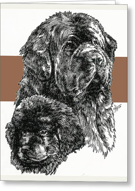 Working Dog Greeting Cards - Newfoundland Father and Son Greeting Card by Barbara Keith