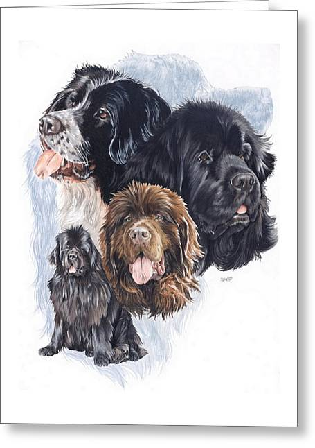 Working Dog Drawings Greeting Cards - Newfoundland w/Ghost Greeting Card by Barbara Keith