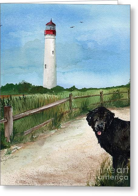 Newfy At Cape May Light  Greeting Card by Nancy Patterson