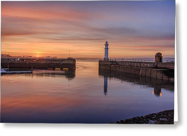 Gloaming Greeting Cards - Newhaven Harbour in the Gloaming Greeting Card by Miles Gray
