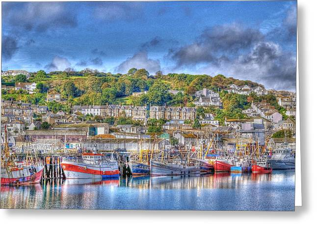 Fishing Trawler Greeting Cards - Newlyn Harbour Cornwall Greeting Card by Chris Thaxter