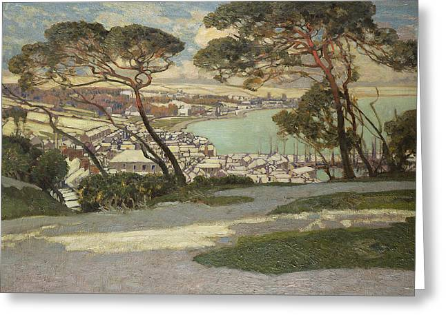 Dappled Light Greeting Cards - Newlyn   Penzance Greeting Card by Sir Alfred East