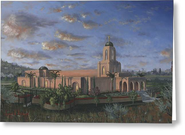 Religious Paintings Greeting Cards - Newport Beach Temple Greeting Card by Jeff Brimley